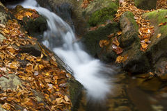 Silky water of Gordon Fall area, White Mountains, New Hampshire. Royalty Free Stock Photography