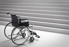 Sillón de ruedas y escaleras Imagenes de archivo