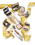 Sill life of cosmetics. Christmas gift concept Stock Photos