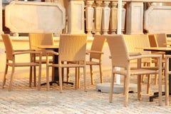 Silla al aire libre del restaurante Fotografía de archivo