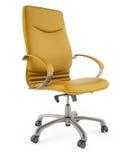 silla amarilla 3D en un fondo blanco imagen de archivo