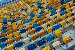 Silla azul en estadio del deporte Imágenes de archivo libres de regalías