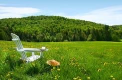 Silla blanca del adirondack en un campo de la hierba alta Fotos de archivo