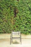 Silla de acero moderna delante de la pared de la hierba Imagen de archivo