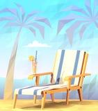 Silla de cubierta con un cóctel en una playa Imagen de archivo libre de regalías