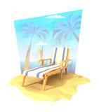 Silla de cubierta con un cóctel en una playa Imagen de archivo