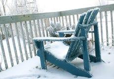 Silla de cubierta en invierno Foto de archivo