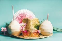 Silla de cubierta en la playa en Brighton Accesorios de la playa: sombrero de paja, hojas de palma, vidrios de sol rosados, flore Foto de archivo libre de regalías