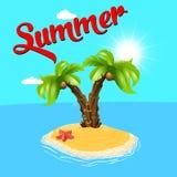 Silla de cubierta en la playa en Brighton Palmera en la isla Vector, y Relaje la playa Árboles Ilustración Imagen de archivo libre de regalías