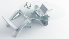 Silla de escritorio y un ordenador portátil Foto de archivo libre de regalías