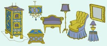 Silla de la estufa de la cuesta de los muebles ilustración del vector