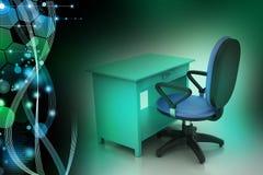 Silla de la oficina y tabla del ordenador Imagen de archivo libre de regalías