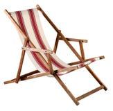 Silla de madera plegable del deckchair o de playa imagen de archivo