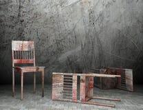 silla de madera vieja 3d en interior stock de ilustración