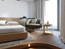 Silla de mimbre lujosa con las almohadas suaves en el dormitorio ilustración del vector