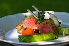 Silla de montar de la carne de venado con la ensalada y el tomate en la placa Imagenes de archivo