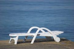 Silla de playa plástica Imágenes de archivo libres de regalías