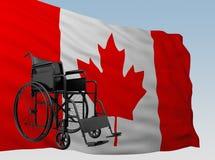 Silla de ruedas con la bandera Canadá libre illustration