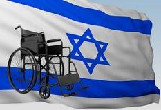 Silla de ruedas con la bandera Israel stock de ilustración