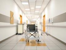 Silla de ruedas en el pasillo del hospital Fotos de archivo libres de regalías