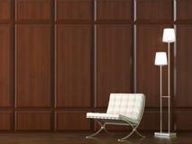 Silla en la pared de madera del revestimiento imagen de archivo