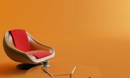 Silla, mesa de centro y taza Imagen de archivo
