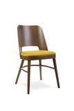 silla moderna del diseñador en el fondo blanco Materia textil y ch de madera Fotografía de archivo libre de regalías