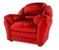 silla roja 3D en un fondo blanco imagenes de archivo