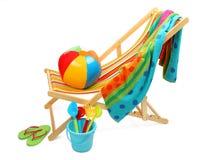 Silla y accesorios de playa Imagenes de archivo