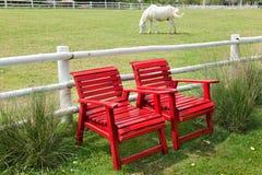 Silla y caballo rojos Imágenes de archivo libres de regalías