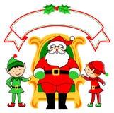 Silla y duendes de Santa stock de ilustración