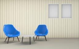 Silla y pared limpias mínimas de Desing de la sala de estar Foto de archivo