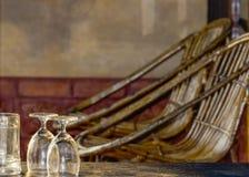 Silla y vidrio Imagen de archivo libre de regalías
