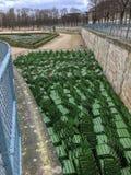 Sillas almacenadas para los meses de invierno, Tuileries, París, Francia del parque foto de archivo libre de regalías