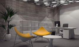 Sillas amarillas modernas que se colocan hacia fuera en Grey Room Fotografía de archivo libre de regalías