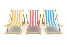 sillas de cubierta de madera 3d Imagen de archivo libre de regalías