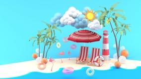 Sillas de cubierta debajo del parasol de playa en una playa de la arena bajo sol ilustración del vector