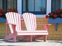 Sillas de cubierta rosadas Foto de archivo