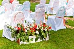 Sillas de la boda Imagen de archivo libre de regalías