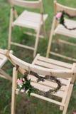Sillas de la boda de la recepción Imágenes de archivo libres de regalías