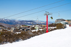 Sillas de la elevación de esquí Fotos de archivo libres de regalías