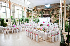 Sillas de la huésped de la boda con las cintas rosadas en el pasillo de la boda Imagen de archivo libre de regalías