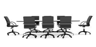 Sillas de la oficina de la mesa de reuniones y del negro frente Fotografía de archivo