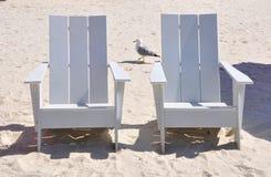 Sillas de madera blancas Imagen de archivo libre de regalías