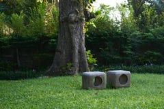 Sillas de piedra en hierba verde en parque o jardín en backgrou de la naturaleza foto de archivo libre de regalías