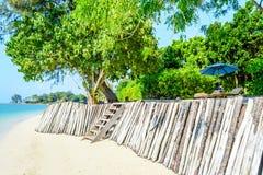 Sillas de playa con el paraguas Fotografía de archivo libre de regalías