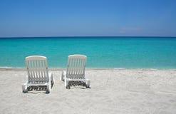 Sillas de playa del Caribe Imagen de archivo libre de regalías