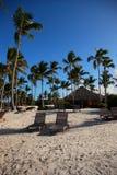 Sillas de playa en la República Dominicana Imágenes de archivo libres de regalías