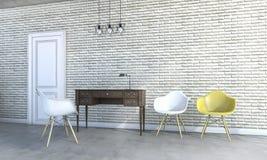 sillas del desván de la representación 3d con muebles clásicos Fotografía de archivo libre de regalías