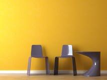Sillas modernas del diseño interior en la pared anaranjada Imagen de archivo libre de regalías